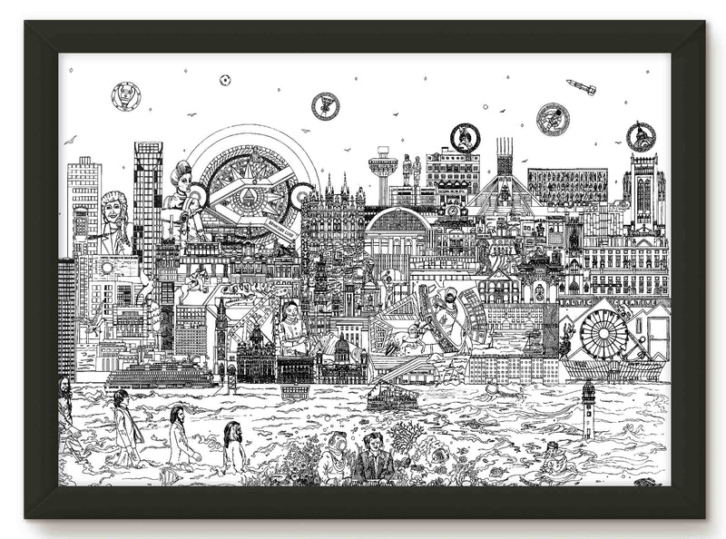 Liverpool skyline print - black and white