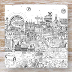 Liverpool skyline greeting card - black and white