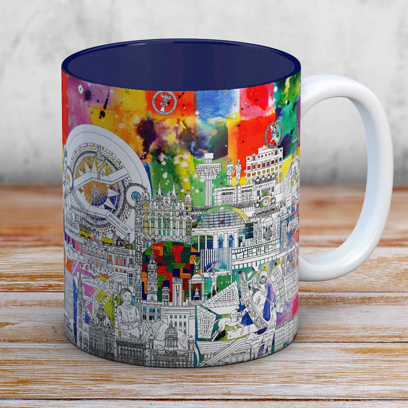 Liverpool skyline in Colour -  coffee mug
