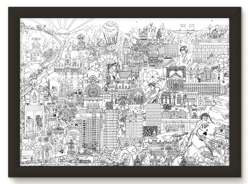 SHEFFIELD  SKYLINE PRINT – BLACK and WHITE