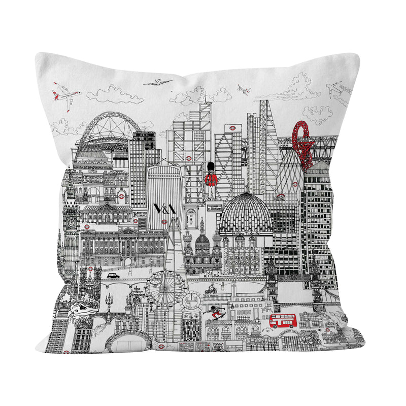 London Skyline IN BLACK & WHITE  SOFT CUSHION