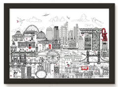 London Skyline Print – Black and White