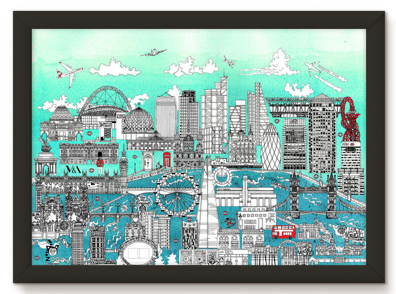 LONDON SKYLINE PRINT - TURQUOISE BLUE