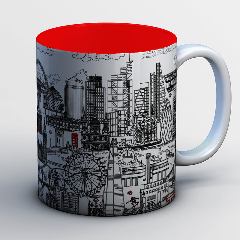 London Skyline Mugs - BLACK AND WHITE