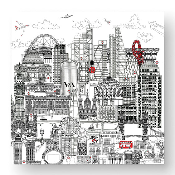 London Skyline Greeting Card in Black and White - Blank Inside
