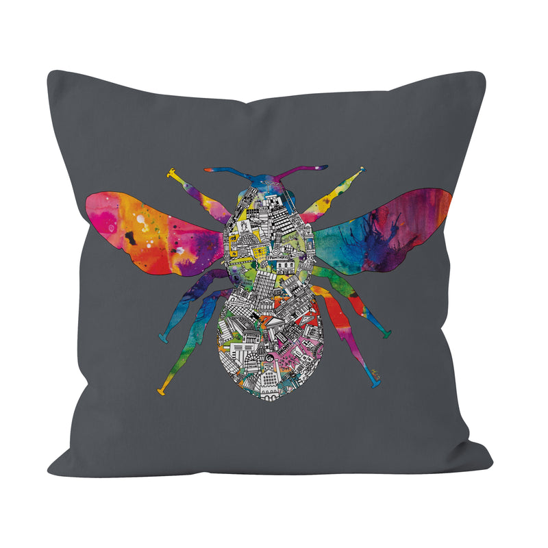 Manchester Skyline - Grey Bee Cushion