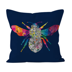 Manchester Skyline - Navy Bee Cushion