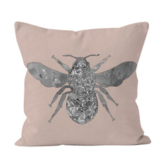 Manchester Skyline - Soft blush pink Bee Cushion