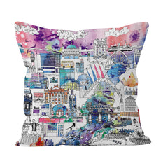 Newcastle Skyline in Colour - Soft Cushion