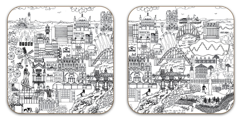 Newcastle Black & White Coaster - Set of 2