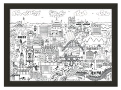 Newcastle Skyline Print – Black and White
