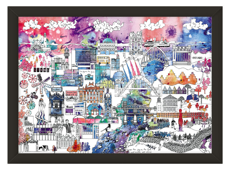 Newcastle Skyline Print – Colour