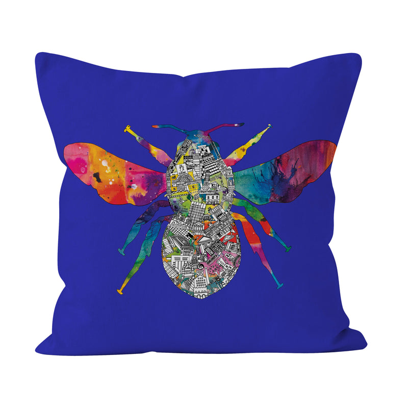 Manchester Skyline - Royal Blue Bee Cushion