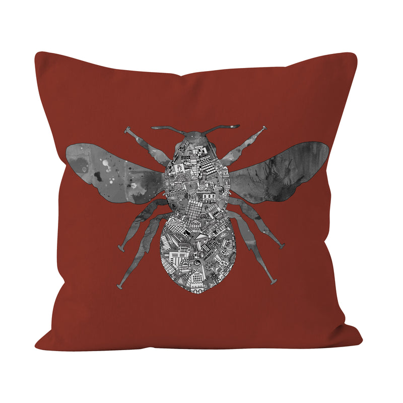 Manchester Skyline - Rust Bee Cushion