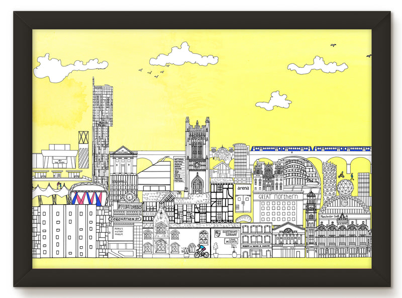 Spinningfields & Deansgate, Manchester (50 windows of creativity) - Art Print