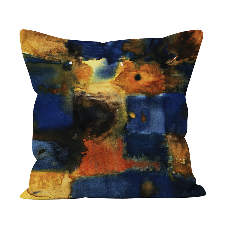 Saffron & Blue Paint Daub Cushion - Soft and Snuggly Cushion