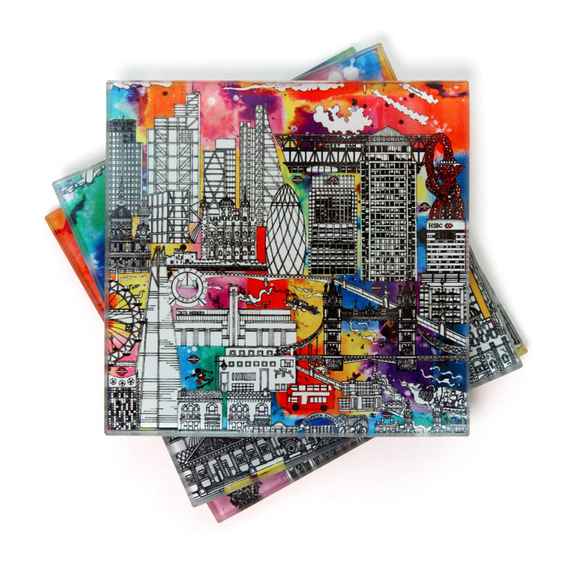 London Skyline Colour - Glass Coaster Set