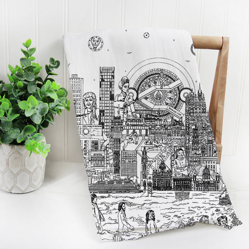 Liverpool Skyline Black and White Tea Towel