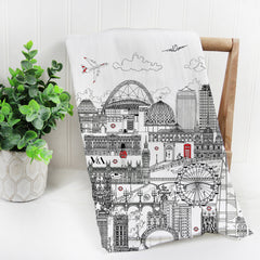 London Skyline Black & White Tea Towel