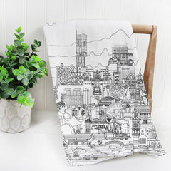 Manchester Skyline Black and White Tea Towel