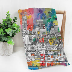 Manchester Skyline MultiColoured Tea Towel