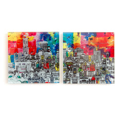 Manchester Skyline- 2 Glass Coaster Set