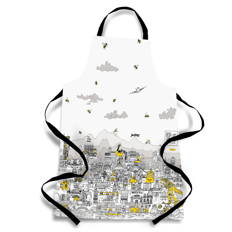 Manchester Skyline - Black, Grey & Yellow Apron
