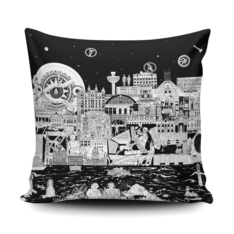 LIVERPOOL SKYLINE IN BLACK & WHITE - SOFT & SNUGLY CUSHION
