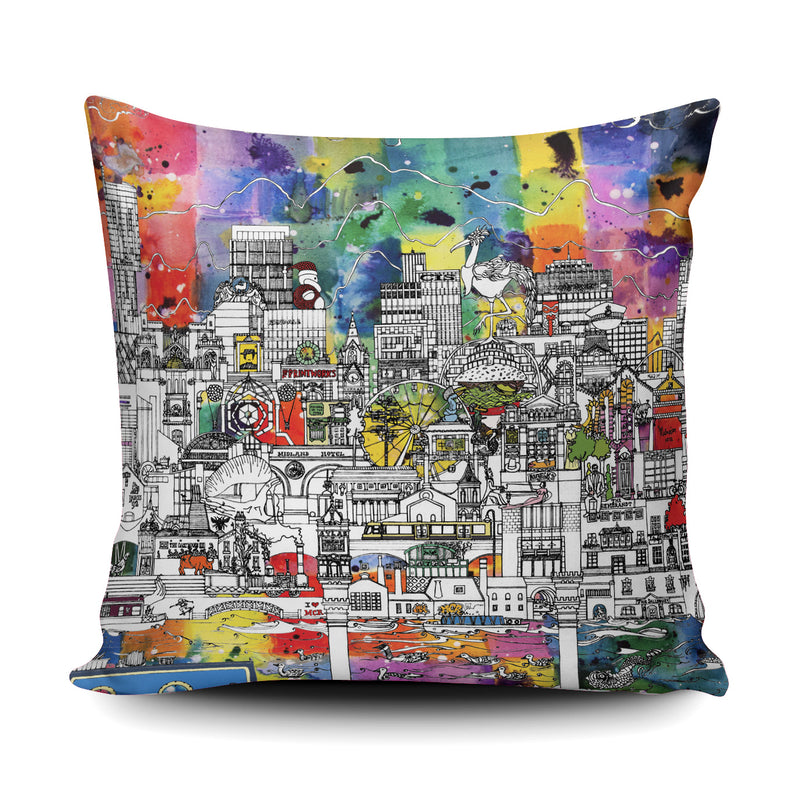 Manchester skyline cushion - colour
