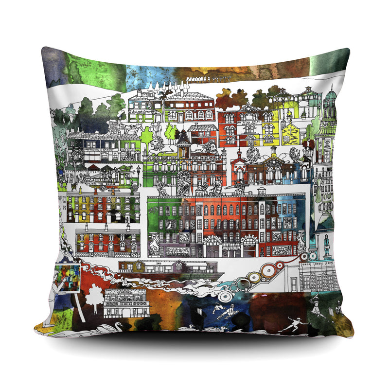 Saltaire Village cushion - watercolour