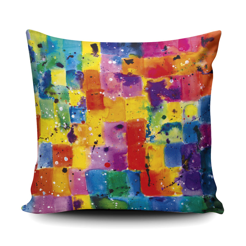 Zoe, Colourful Paint Daub Cushion - Soft and Snuggly Cushion
