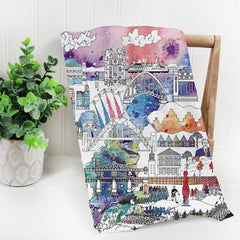Newcastle Skyline in Colour - Tea Towel