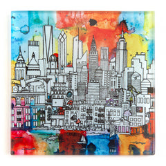NewYork Skyline- 2 Glass Coaster Set