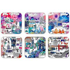Newcastle Skyline Colour - 6 coaster Set