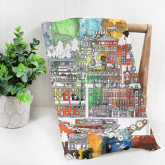 Saltaire Village in Colour Tea Towel