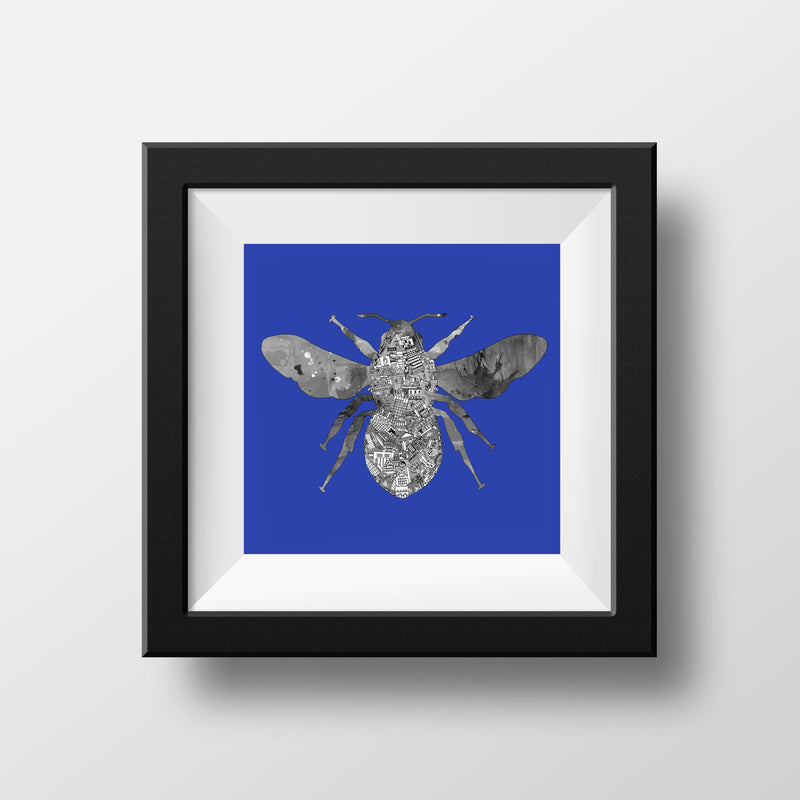 Manchester Skyline Bee - Black & White on Royal Blue - Square Matt Print