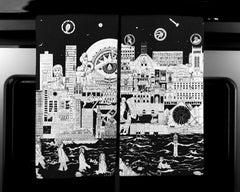 Liverpool Skyline in Black - Tea Towel