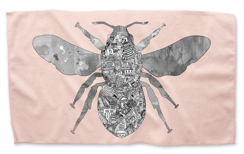 Manchester Worker Bee  - Tea Towel. Available in Navy, Grey, Royal Blue, Mustard & Pink