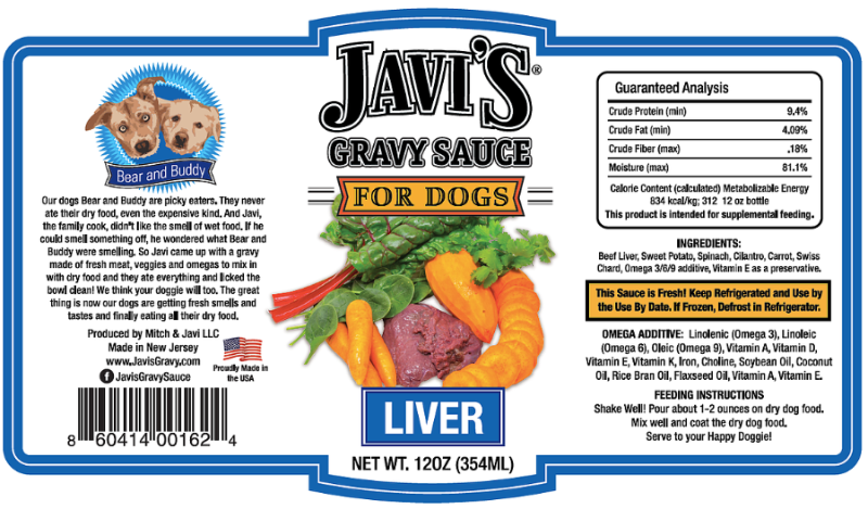 Javi's Gravy Sauce for Dogs - Liver Ingredients