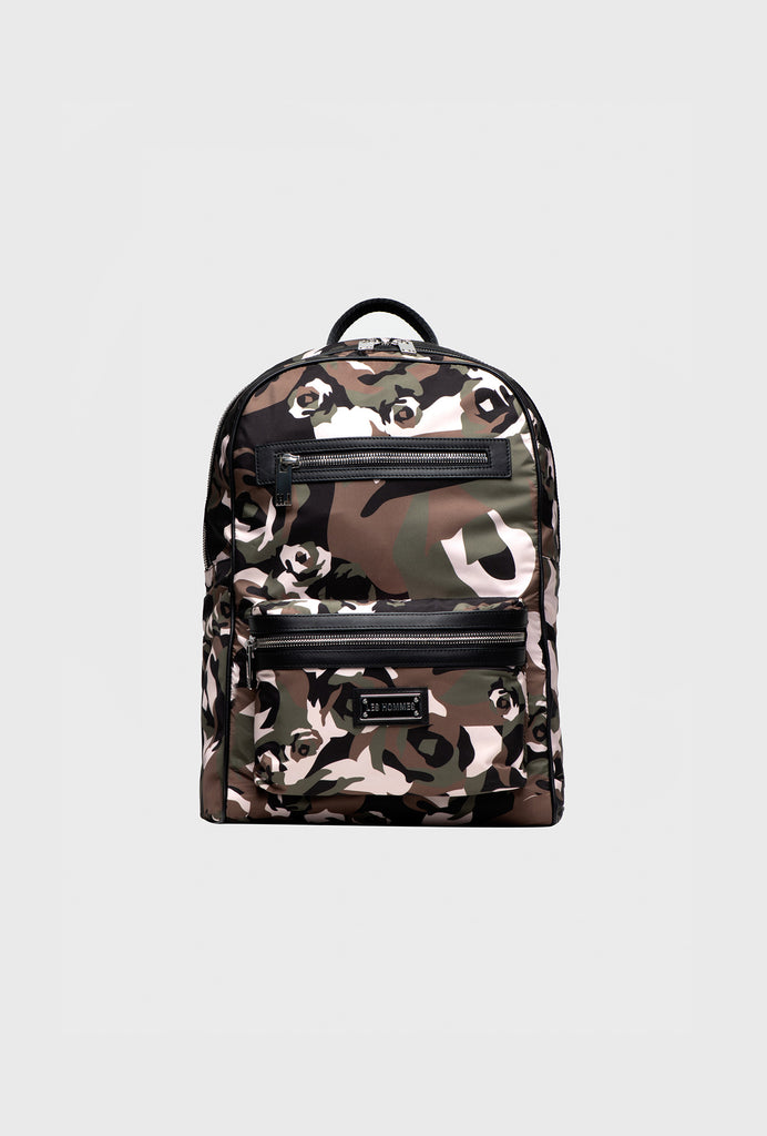 NYLON PRINTED BACKPACK ALLOVER BROKEN ROSES CAMOUFLAGE WITH