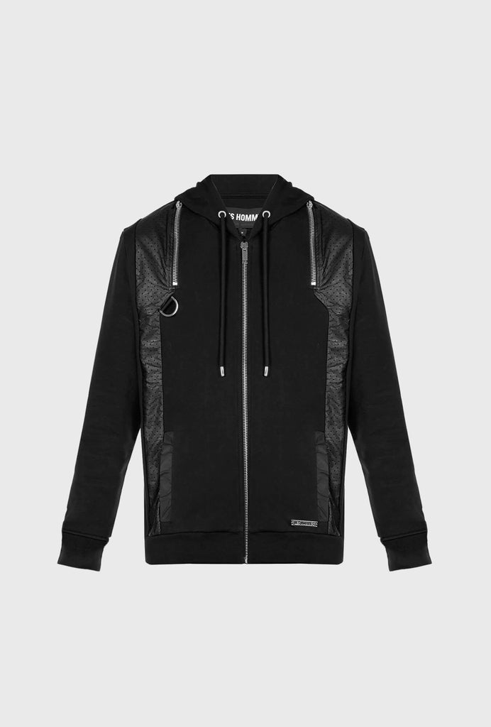 REGULAR FIT MERCERIZED COTTON HOODIE WITH CONTRASTING INSERTS