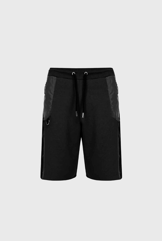 SHORT SWEATPANTS IN MERCERIZED COTTON WITH CONTRASTING INSERTS