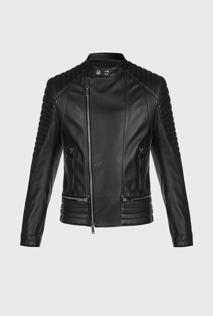 LEATHER BIKER WITH MULTIPLE ZIP