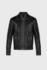 SLIM FIT LEATHER JACKET WITH CONTRAST STITCHING