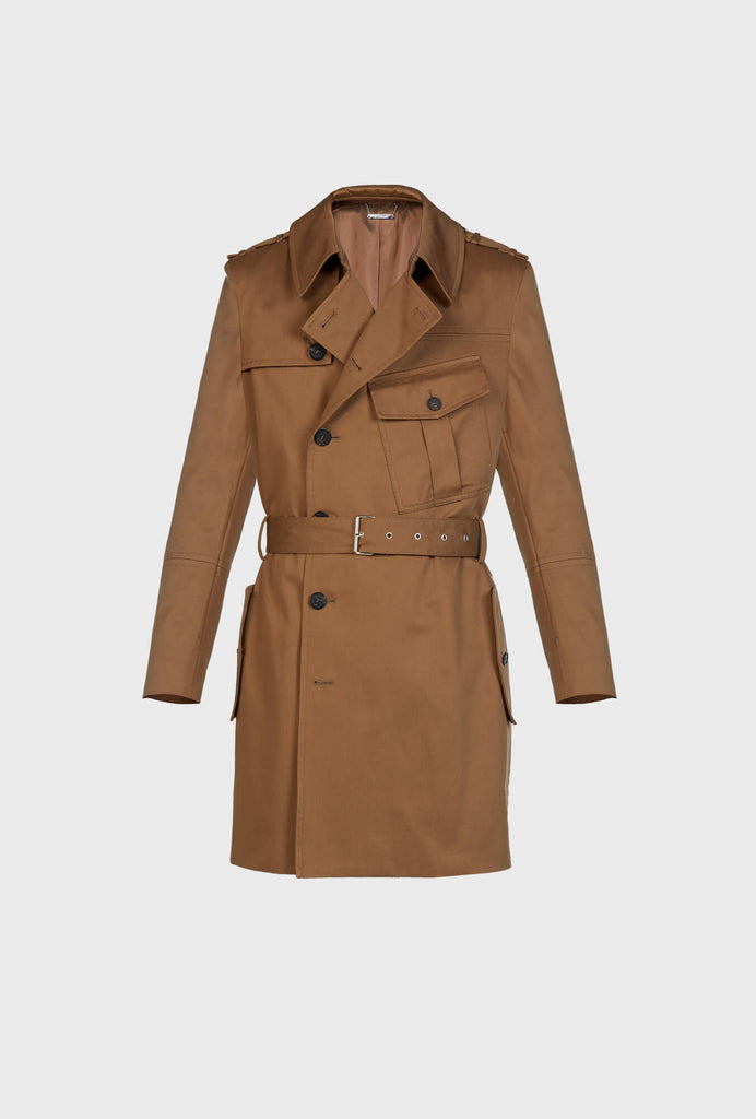 COTTON TWILLTRENCH WITH FRONTAL POCKET