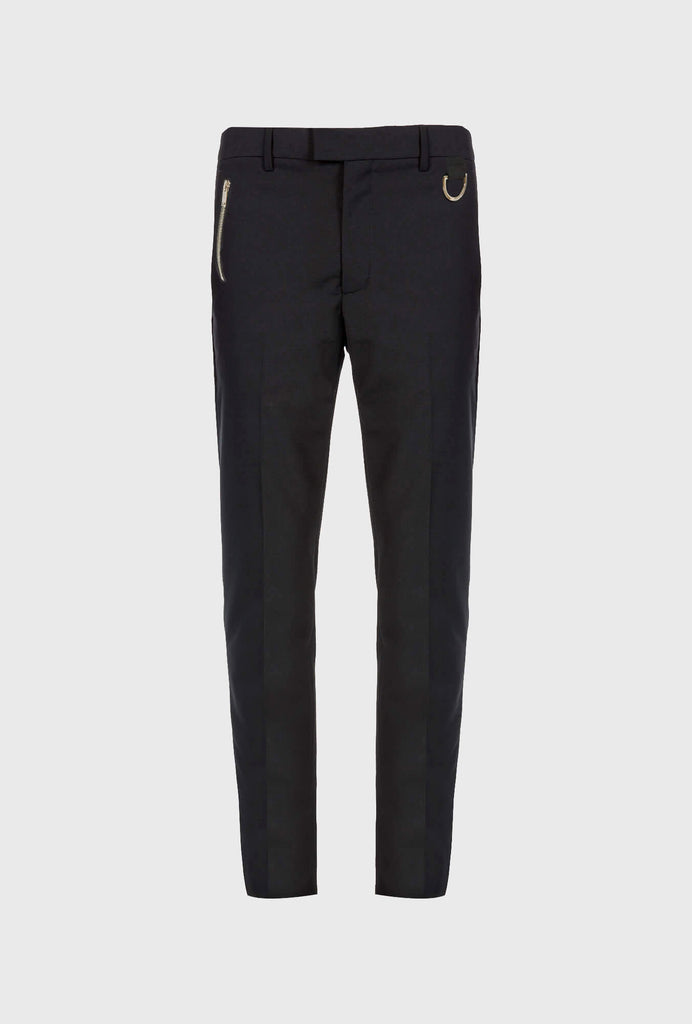 WOOL SLIM FIT CLASSIC PANTS WITH ZIP DETAIL AND VELCRO