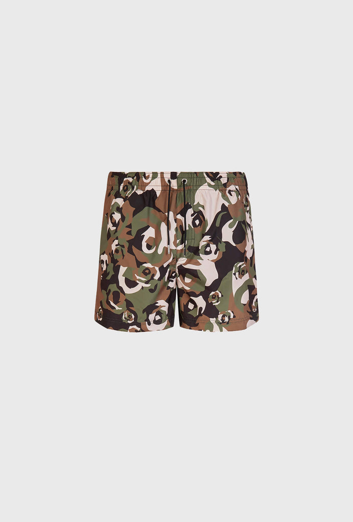 SWIM SHORT IN LIGHT WEIGHT NYLON BROKEN ROSES