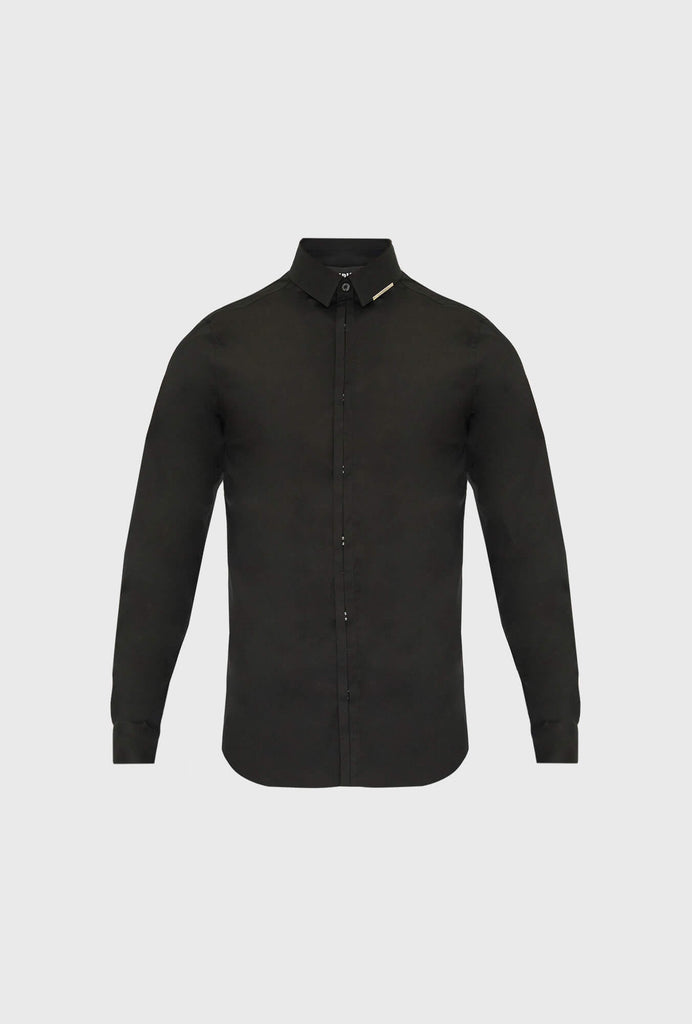 SLIM FIT LONG SLEEVED POPLIN STRETCH SHIRT WITH HIDDEN BUTTONS