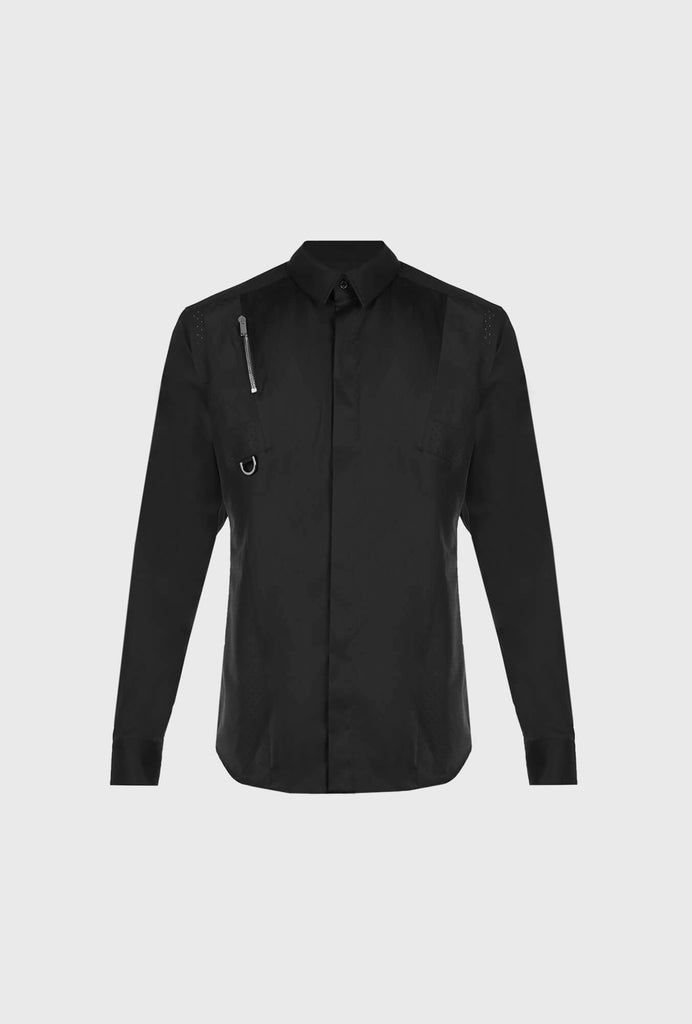 SLIM FIT POPLIN STRETCH SHIRT WITH LONG SLEEVES AND CONTRASTING INSERT