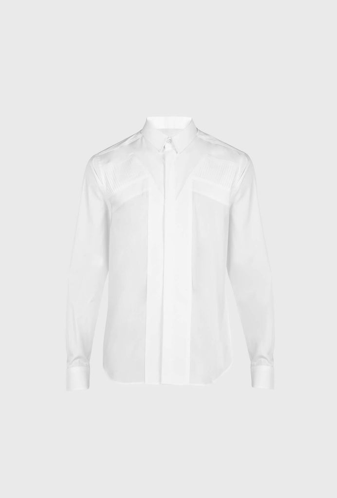 REGULAR FIT POPLIN STRETCH SMOKING SHIRT WITH LONG SLEEVES AND VERTICAL INSERTS